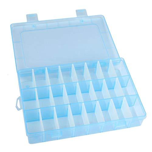 DIPOLA Einstellbare 24-Fach Kunststoff-Aufbewahrungsbox Schmuckohrringe Box 24 Raster transparente Schmuckschatulle