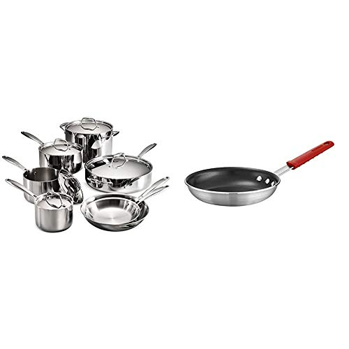 """Tramontina 80116/249DS Gourmet Stainless Steel Induction-Ready Tri-Ply Clad 12-Piece Cookware Set, NSF-Certified, Made in Brazil & Professional Aluminum Nonstick Restaurant Fry Pan, 10"""", Made in USA"""