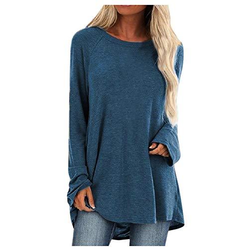 Blusa de moletom feminina Aniywn plus size, folgada, manga curta/comprida, fina, lisa e estampada, Azul, XXL