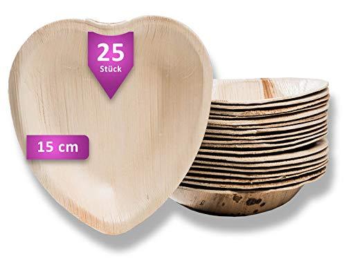 Waipur Bio Palmblattteller - 25 Teller Herz 15 cm - Premium Einweggeschirr - Umweltfreundliches Hochzeitsgeschirr - Palmblatt Geschirr kompostierbar