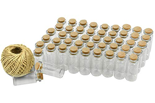 Wandefol 48pcs Botella de Mensaje, Botellas Cristales Pequeñas, Botella de Vídrio con Tapón de Corcho para Manualidad Decoración con Cordel Transparente a Prueba de Golpe Madera Yute Vídrio 10ml