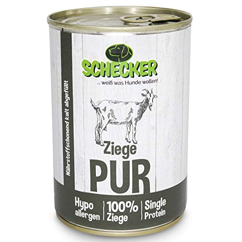 Schecker DOGREFORM Ziege pur 6X 410g - 10 Verschiedene Sorten - Nassfutter - fettarmes Muskelfleisch - glutenfrei - 100% Frisch - frei von Konservierungsstoffen