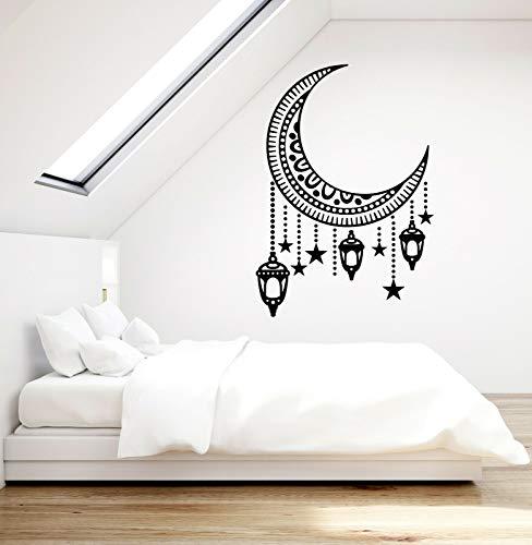 Tianpengyuanshuai muur decals halve maan lantaarn vinyl venster sticker retro stijl slaapkamer woonkamer huisdecoratie muurschildering