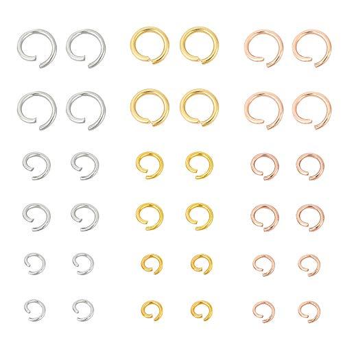UNICRAFTALE Sobre 450PCS Anillo de Salto de Acero Inoxidable de Calibre 18/20/22 Conectores de Anillo de Salto Abierto de Color Mezclado Anillos O 3 tamaños Conector Anillo de Salto