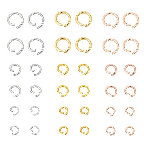 UNICRAFTALE about 450PCS 18/20/22 Gauge Stainless Steel Jump Ring Mixed Color Open Jump Ring Connectors O Rings 3 Sizes Connector Jump Ring for DIY Bracelet Necklaces Jewelry Craft Making