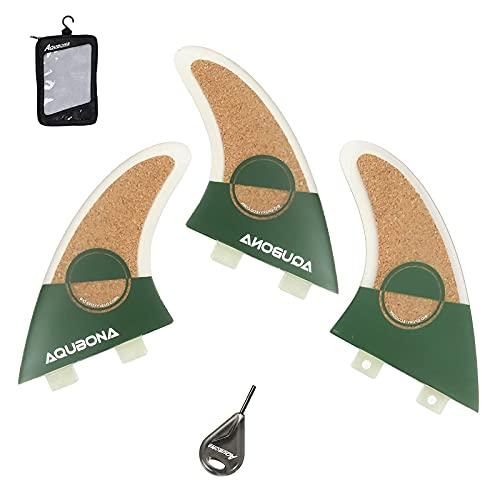 AQUBONA Aletas de corcho de fibra de vidrio para tabla de surf AM2 de doble pestaña para surf con bolsa de aleta y llave de aleta