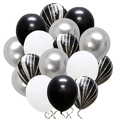 Palloncini Argento Bianco Nero 50 Pezzi Palloncini Marmo Nero Utilizzato per Decorazioni per Feste di Compleanno per Ragazze di Nozze