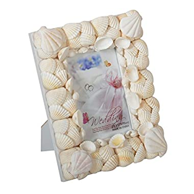 Yakri 5x7 Beach Decor Seashell Picture Frame,Complete Handmade Conch Photo Frames with Sea Shells for Wedding