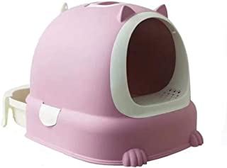 F Fityle Ultra Automatic Self Cleaning Hooded Cat Litter Box Includes Disposable Trays with Crystal Litter and Hood - Pink