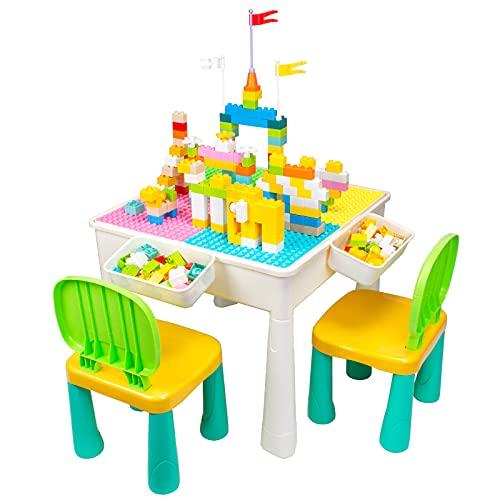 AMOSTING Mesa Infantil y Sillas de Colores, Mesa Actividades Ajustable en Altura 100 Piezas Bloques de Construcción para Jugar, Comer, Aprender, Almacenar, Hacer Arena
