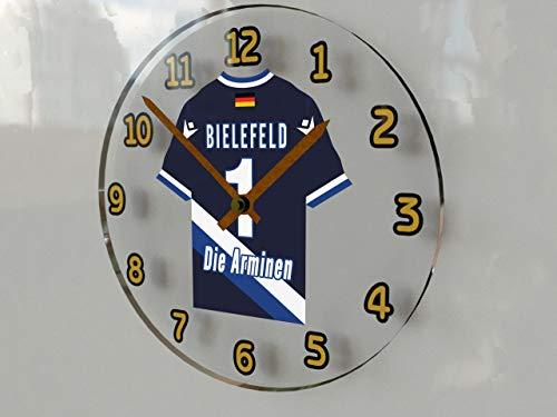 FanPlastic 2. Bundesliga Deutschland Fußball Wanduhr - Fußball-2.Bundesliga Fußball, JEDER Name & Jede Nummer - NEUES ACRYL Shirt Design !!! (Arminia Bielefeld Wanduhr)