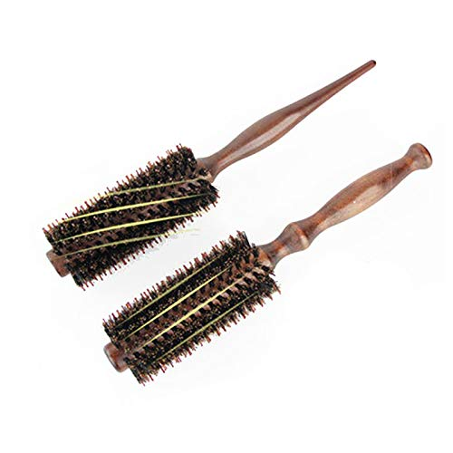 Premium Boar Bristle Borstel Natural Boar Bristle Ronde Styling Haarborstel Houten Kam Haar Drogen Styling Curling Hair Brush voor Dames Mannen