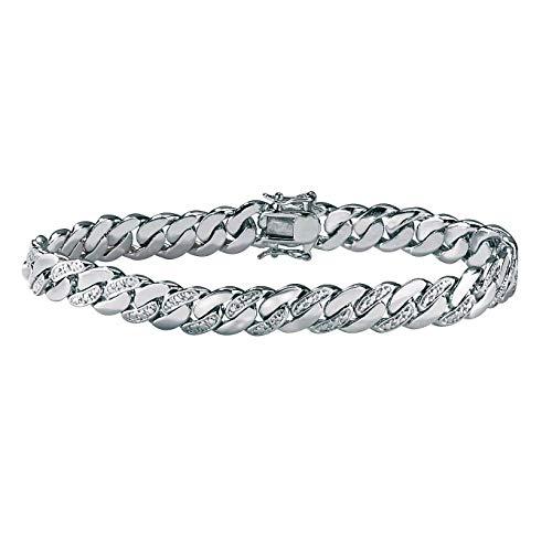 Men's Platinum Plated Genuine Diamond Accent Curb Link Bracelet (9mm), Box Clasp, 8.5 inches