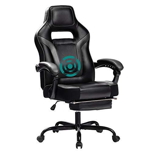Healgen Gaming Stuhl mit Fußstütze Videospielstuhl Racing Gamer Ledersessel Drehbarer Executive Ergonomic Office Stuhl mit hoher Rückenlehne und Kopfstützen-Lordosenstütze