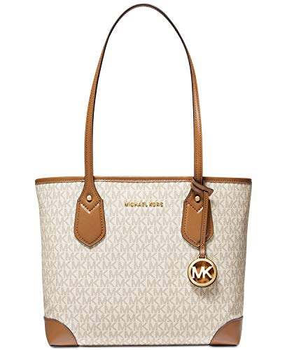 """Medium sized bag; 13-3/4""""W x 10""""H x 4-1/4""""D (width is measured across the bottom of handbag 1 removable snap pouch Gold-tone exterior hardware Faux leather (PVC, polyester, cotton, polyurethane); trim: leather; lining: polyester Open closure"""