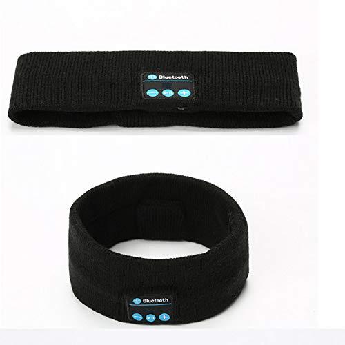 BCBIG Bluetooth-Stirnband, Schlaffkopfhörer, Winter Stirnband Ohrwärmer, Headset für Workout, Joggen, Yoga, Schlaflosigkeit, Reisen,Schwarz