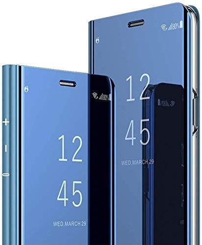 Herbests Kompatibel mit iPhone 11 Spiegel Hülle Ledertasche Überzug Mirror Clear View Flip Cover Hülle Bookstyle Dünn Handyhülle Tasche Lederhülle Klapphülle,Blau
