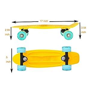 Cyboard 17inchX5inch Yellow Mini Skateboard, Mini Cruiser Skateboard for Beginner with Pu Wheel