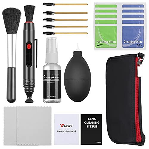 Temery 9 Stück Kamera Reinigungsset, Reinigungskit mit Reinigungsstift, Blasebalg, Pinsel, Objektiv Reinigung Set für Digitalkamera