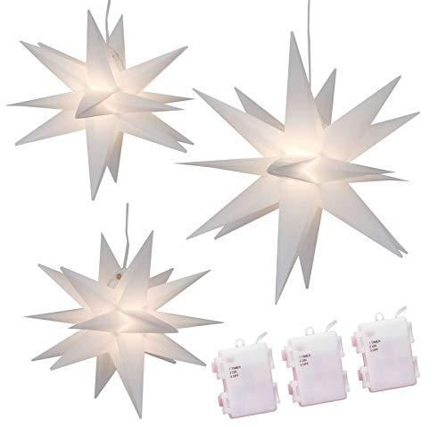 Weihnachtssterne 3er-Set LED Sterne weiß beleuchtet 25/25/35 cm warmweiß Weihnachtsbeleuchtung
