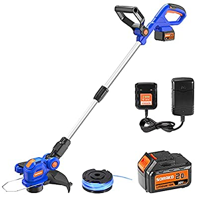 Amazon - 50% Off on  Cordless String Trimmer/Edger 20V, 12 inch Grass Trimmer with 2.0Ah Li-ion Battery