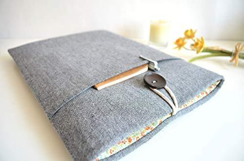 Herringbone + Floral Kindle Sleeve, Amazon Fire Case, Paperwhite, Voyage, eReader Custom Size Cover