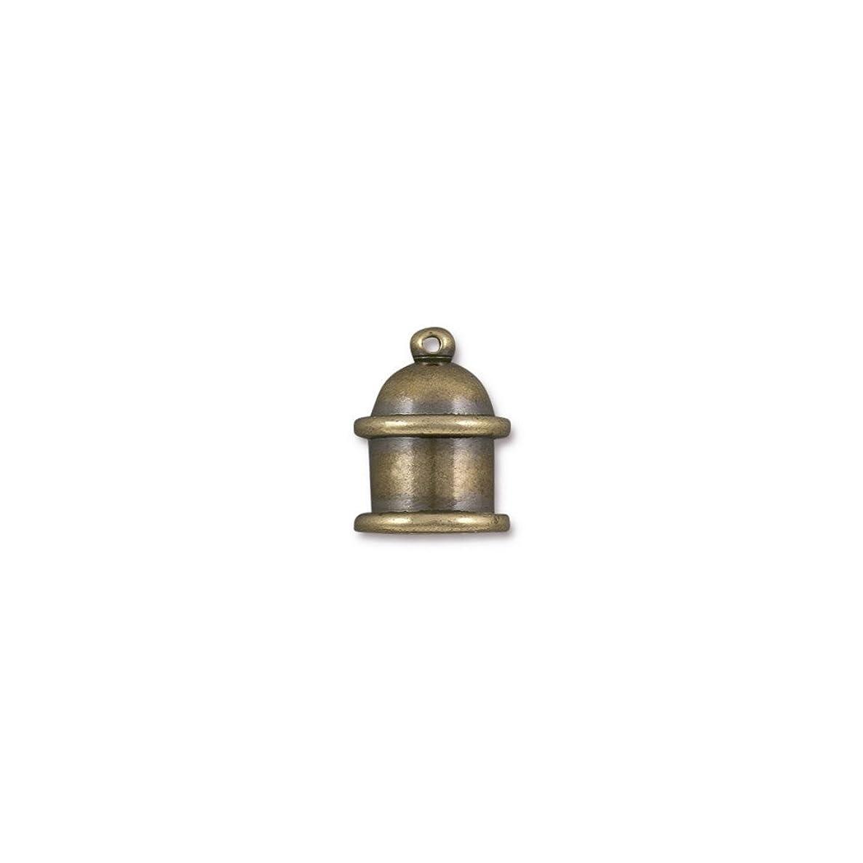 TierraCast Cord End Pagoda Beads, 8mm Inner Diameter/15mm, Antique Brass