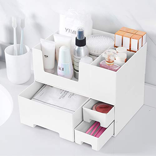 Makeup Organizer Drawers,Stackable Makeup Storage Organizer for Cosmetics,Nail Care Essentials,Jewelry Accessories for Storage & Display-White