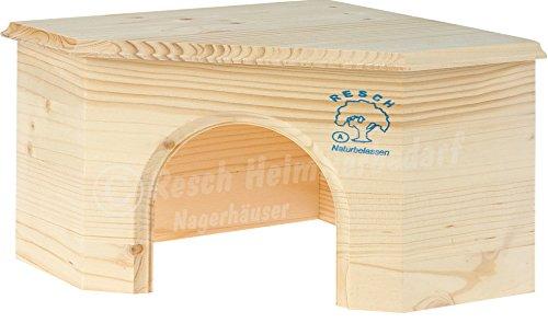 Resch Nr14 Meerschweinchen Eckhaus naturbelassenes Massivholz aus Fichte/großer Eingang und platzsparendes Design