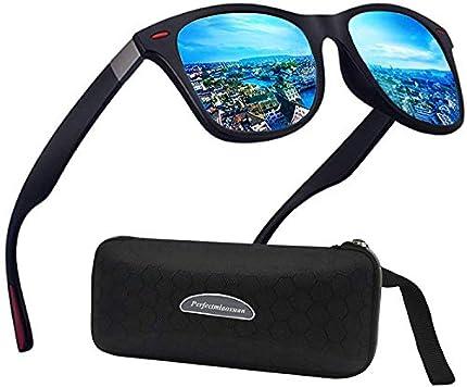 Perfectmiaoxuan Gafas de sol polarizadas Hombre Mujere Lujo Retro/Aire libre Deportes Golf Ciclismo Pesca Senderismo 100% protección UVA gafas unisex golf conducción Gafas gafas de sol (b1lue)