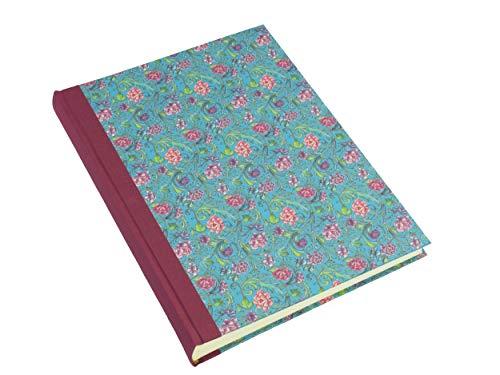 Fotoalbum groß, Fotobuch mit cremefarbigen Seiten, 23x30 cm, 30 Blatt (60 Seiten), weinrotes Leinen, Florentiner Papier Blumen, handgemachtes Buch für Photos im Format 9x13, 10x15 und 13x18