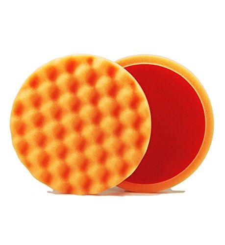 ALCLEAR 5613530AH Polierpad gegen Hologramme, Auto Polierschwämme, gewaffelt, Durchmesser: 135x25 mm, orange,2er Set, Polierpad polieren Pad Schwamm Polierschaum f. Poliermaschine