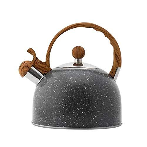 Mdsfe Nueva Tetera de té para Estufa, Tetera con silbido, Tetera de Acero Inoxidable Premium con Mango de Grano de Madera, Adecuada para Todas Las Fuentes de Calor, a4, Negro
