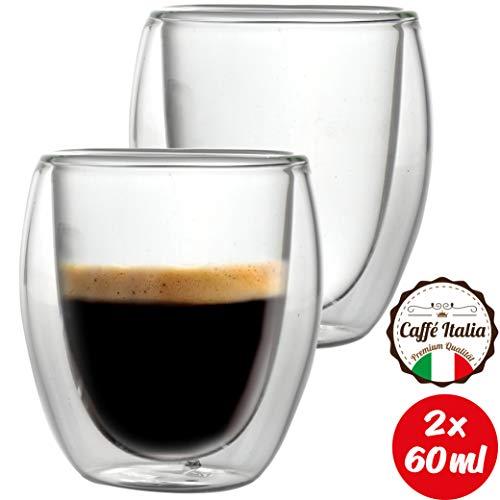 Caffé Italia Roma 2X Tasse Verre Double Paroi 60 ML - Tasse Expresso 8 cl - Espresso en Verre - Coffret de 2 Tasses à Café Double Paroi - Cadeau Parfait pour Toute Occasion