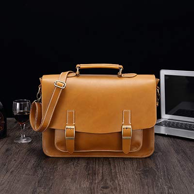AGBFJY Handelaar tas dubbele riem decoratie merk leer mannen aktetas advocaat document tas