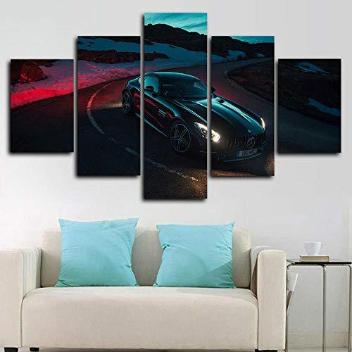 runtooer Bilder Dekorative malerei Spray malerei leinwand malerei 5 stück Mercedes AMG GT C Auto Leinwand Wandbild, Möbel Art Deco, Rahmen