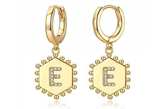 Lsv-8 Pendientes de Aro Huggie Chapados en Oro de 14 Quilates, Pendientes con Letras Iniciales, Regalo de Joyería para Mujeres Y Niñas