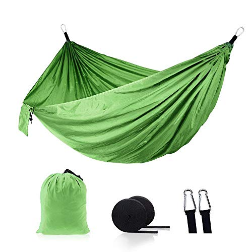 N/A Outdoor hammock TW Color portable outdoor camping parachute nylon fabric hammock sleeping travel hiking bed (Color : Fruit Green)
