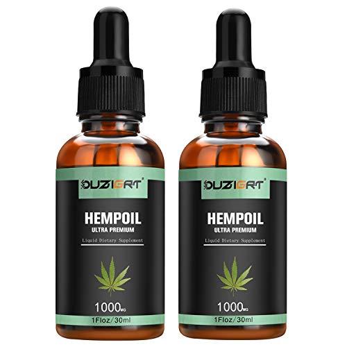 OUZIGRT Huile de Chanvre Bio 30 ml | 1000 MG, extrait de graines de chanvre naturel pur - Aide à réduire l'anxiété et le soulagement du stress, favorise un sommeil sain (2PACK)