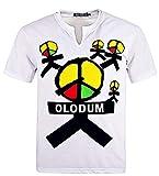 Mens Boys Perfect Cosplay OLODUM Beat It Piano Peace Anti War T- Shirts(White-1,Large)