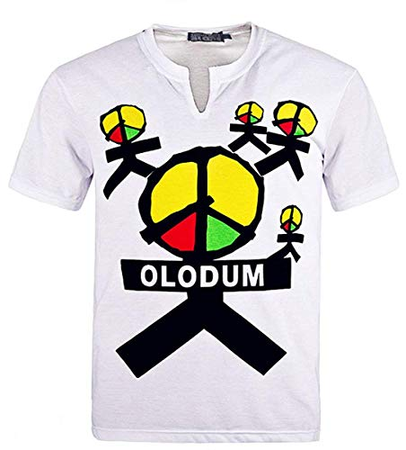 Herren Jungen Perfect Cosplay OLODUM Beat It Piano Peace Anti War T-Shirt - Weiß - 40/50 Kg