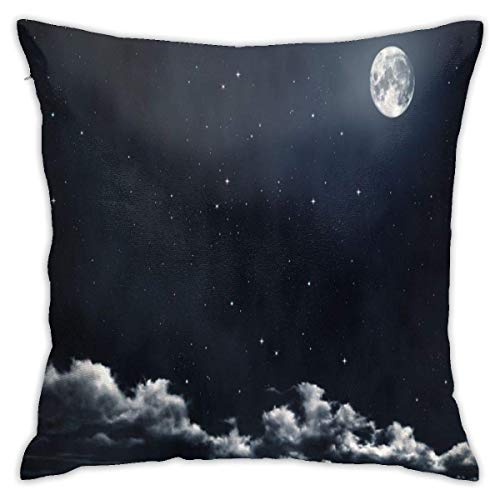 lucies Starry Moon and Mountain Throw Pillow Case Soft Cushion Cover 18 X 18 Inch Decorative Pillowcases Modern Square Pillow Case Home Car Decoration