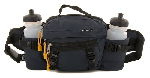 Everest Hiking Sports Dual Bottle Navy Fanny Waist Lumbar Pack Bag 2 Squeeze Bottles Included