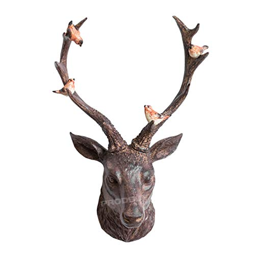 18' Stag Head Birds Wall Mounted Ornament Stags Antlers Aged Reindeer Home Sculpture