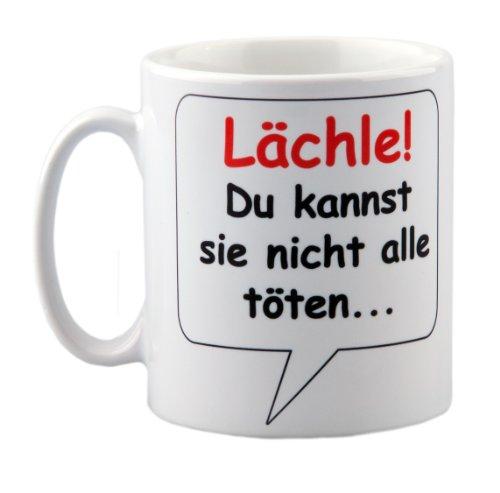 geschenke-fabrik - Tasse Lächle Du kannst sie nicht alle töten - mit Spruch - lustig - Büro/Arbeit - witziges Geschenk für Arbeitskollegen - zum Geburtstag - zu Weihnachten
