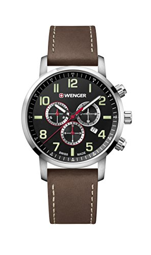 Wenger Men's Sport Stainless Steel Swiss-Quartz Watch with Leather Strap, Brown, 22 (Model:...