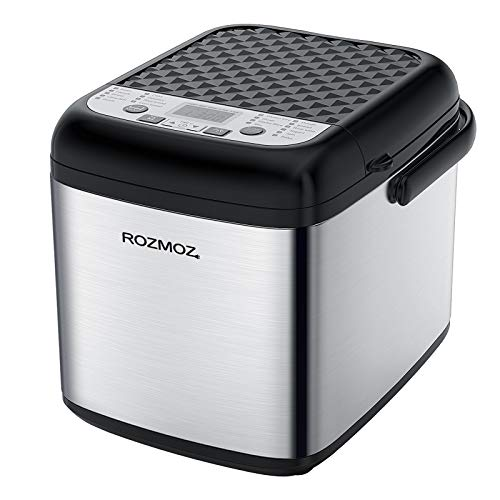 19-in-1 Small Bread Machine, Rozmoz Special Mini Bread Maker with Gluten Free Setting and Nonstick Ceramic Pan, Compact Automatic Bread Maker Machine 1.2LB for One Person, Suitable for Apartment, 7 Deluxe Accessories