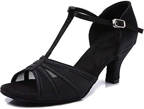 CLEECLI Women's Ballroom Dance Shoes Latin Salsa Dance Shoes T-Strap Sandals 2.5 Inch Heel ZB01(6.5,Black-2.5 Inch Heel)