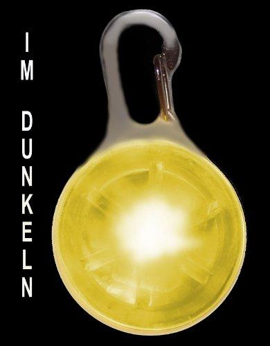 PRECORN Leuchtanhänger gelb LED Hunde Katzen Hundegeschirr Leuchthalsband Hundeleuchthalsband
