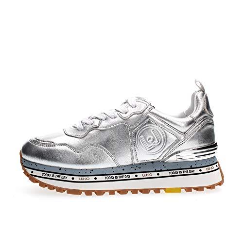 Scarpe Sneaker Running Liu-Jo Maxi Alexa in Pelle Metallic Silver Donna DS20LJ08